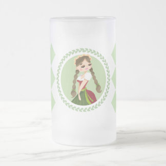 Girl in Dirndl Frosted Glass Beer Mug