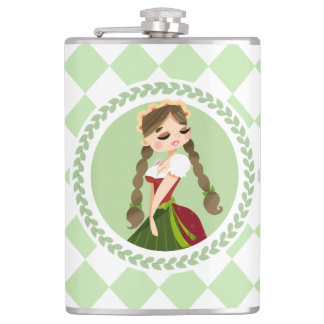 Girl in Dirndl Hip Flask