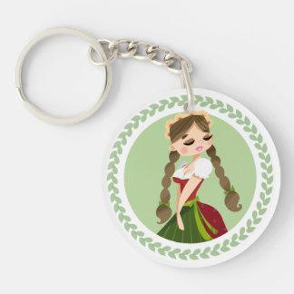 Girl in Dirndl Keychain