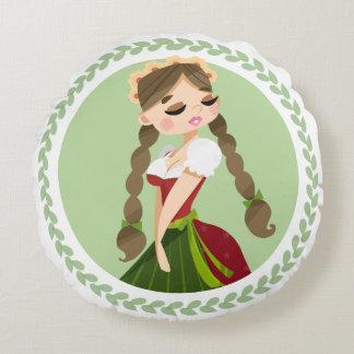 Girl in Dirndl Round Pillow