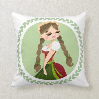 Girl in Dirndl Throw Pillow