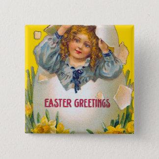 Girl in Egg Easter Button