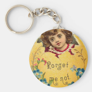 Girl in Egg Forget Me Not Basic Round Button Keychain