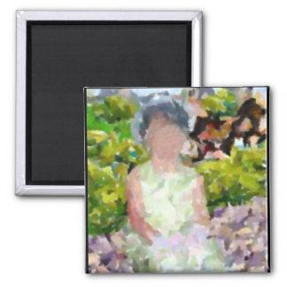 Girl in Garden Magnet