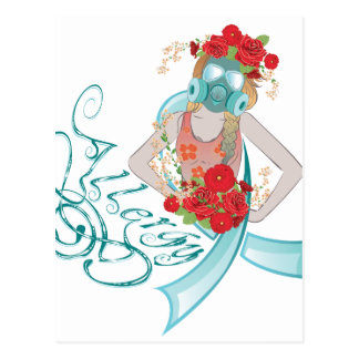 Girl in Gasmask Allergy2 Postcard