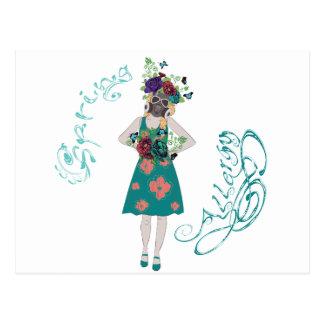 Girl in Gasmask Allergy Postcard