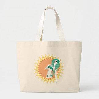 Girl in green bikini large tote bag