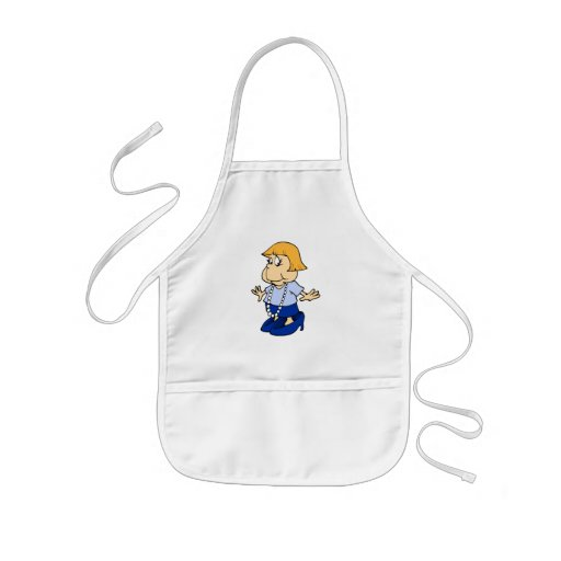 Girl in mommies pearls and shoes apron