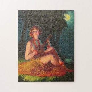Girl in Moonlight with Banjo Ukulele Jigsaw Puzzle