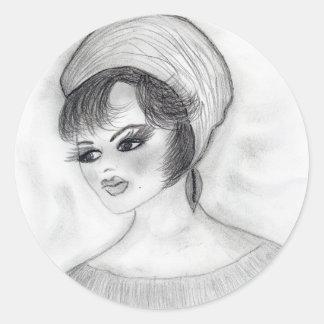 Girl in Pillbox Hat Round Sticker