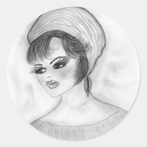 Girl in Pillbox Hat Round Stickers