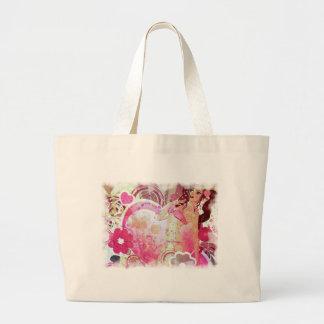 Girl in pink bikini and big heart large tote bag