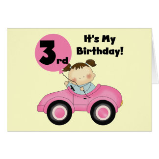Girl in Pink Car 3rd Birthday Tshirts and Gifts Greeting Card