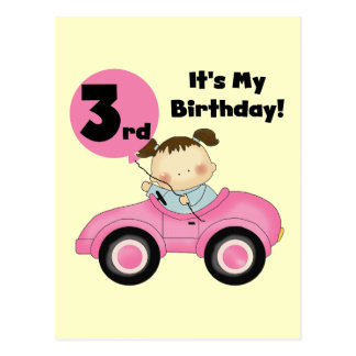 Girl in Pink Car 3rd Birthday Tshirts and Gifts Postcard