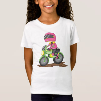 Girl In Pink Riding a Bike Girls T-Shirt
