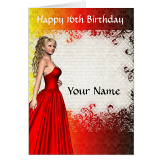 Girl in red dress16th birthday card