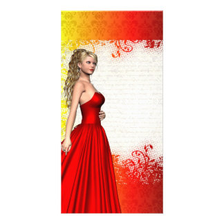 Girl in red dress personalized photo card