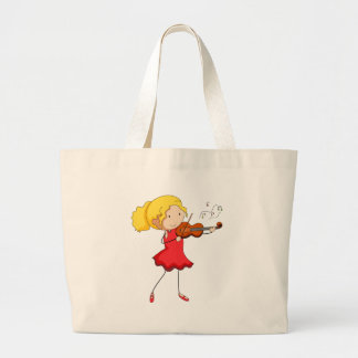 Girl in red dress playing violin large tote bag
