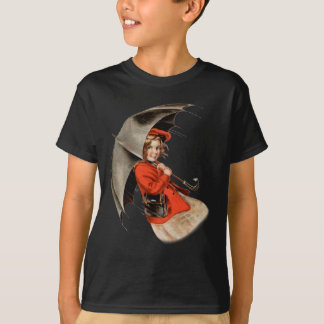 Girl in Red Holding Umbrella T-Shirt