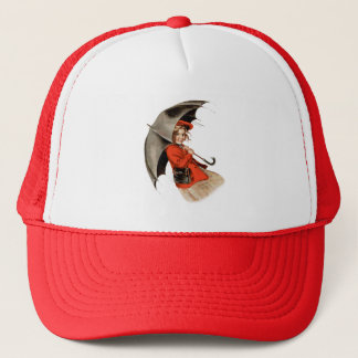 Girl in Red Holding Umbrella Trucker Hat