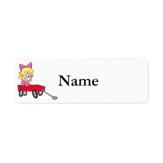 girl in red wagon return address label