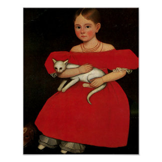 Girl in Red with her Cat and Dog Poster