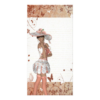 Girl in summer hat photo greeting card