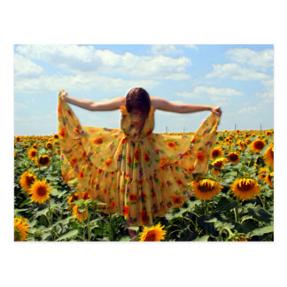 Girl in Sunflower Field Postcard
