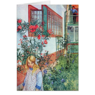 Girl in the Garden with Red Flowers Card