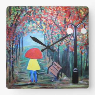 Girl in the Rain Square Wall Clock