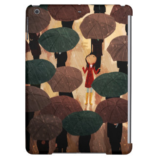 "Girl In the Rain Umbrellas ""City in the Rain"" iPad Air Covers"