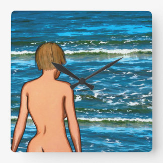 Girl in the Sea Painting Wall Clock