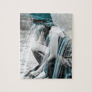 Girl in the Waterfall Jigsaw Puzzle