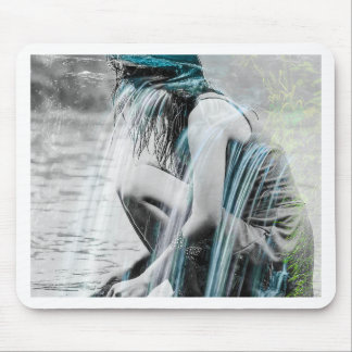 Girl in the Waterfall Mouse Pad