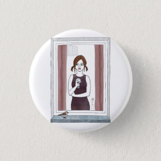girl in the window 1 inch round button