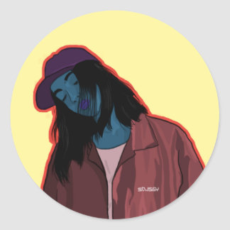 Girl in town classic round sticker