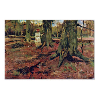 Girl in White in the forest by Vincent van Gogh Poster