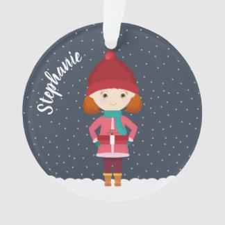 Girl in Winter Snowfall Ornament