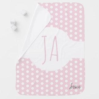 Girl Initials Pink Polka Dot Pattern Monogram Name Baby Blanket