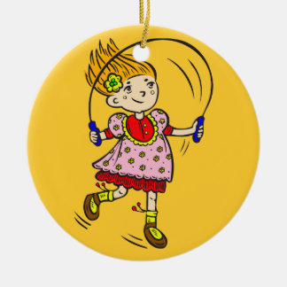 Girl Jumping Rope Round Ceramic Ornament
