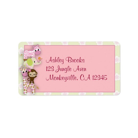 Girl Jungle Animal Baby Shower Address Label