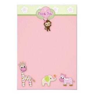 "Girl Jungle Animal Baby Shower Thank You 3.5""x5"" 3.5"" X 5"" Invitation Card"