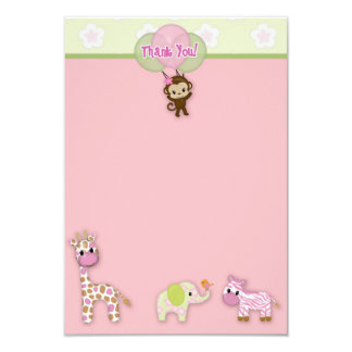 "Girl Jungle Animal Baby Shower Thank You 3.5""x5"" Card"