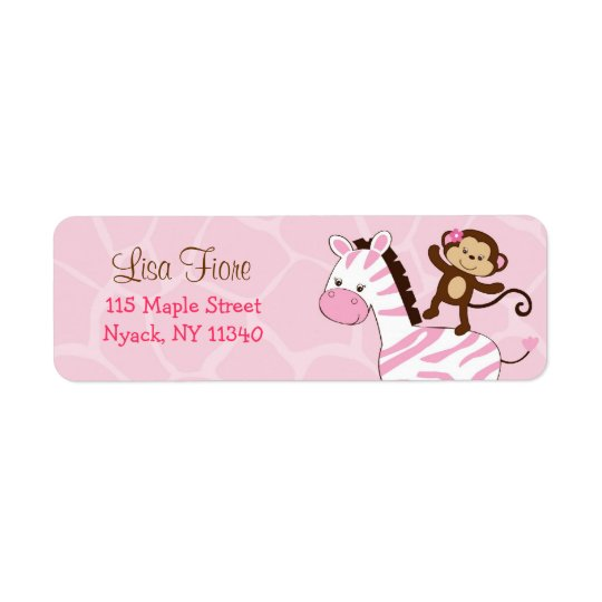Girl Jungle Monkey Zebra Address Labels