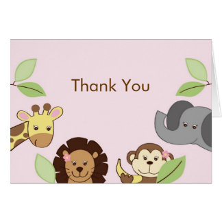Girl Jungle Zoo Animal Thank You Note Cards