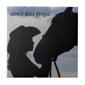 Girl Kissing Horse Tile