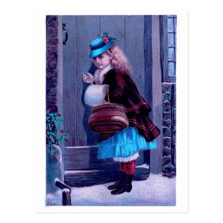 Girl Knocking at Door Vintage Painting Postcard