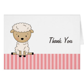 Girl Lamb Baby Shower Pink Stripe Thank You Note Card