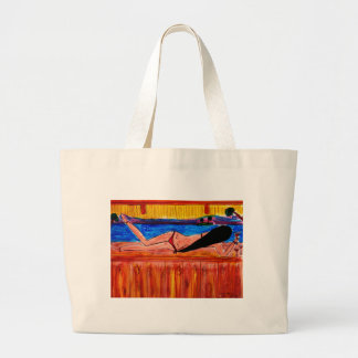 Girl Laying on the Tiki Bar Large Tote Bag