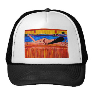 Girl Laying on the Tiki Bar Trucker Hat